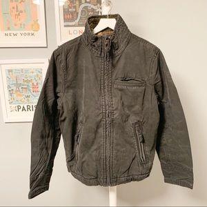 American Eagle Flannel Lined Fur Collar Jacket, L